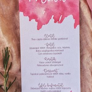 Menü kártya, watercolor, akvarell, rózsaszín, barackszín (leafandart) - Meska.hu