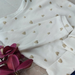 Arany szívecskés ruha kék tüllszoknyával, Ruha & Divat, Babaruha & Gyerekruha, Ruha, Varrás, Abszolút ünnepi alkalmakra álmodtam meg ezt a szép kis ruhát. Régóta vágytam már erre a kombinációra..., Meska