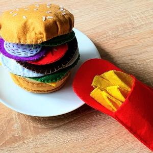 Filc hamburger sültkrumplival, Gyerek & játék, Gyerekszoba, Játék, Készségfejlesztő játék, Varrás, Milyen jó is azt játszani, hogy hamburgert eszünk sültkrumplival. Szinte érezzük az illatát. Tudjuk,..., Meska