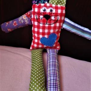 Textilmacska 2., Játék & Gyerek, Plüssállat & Játékfigura, Cica, Varrás, Különböző mintázatú pamutvászon anyagból, mosható töltettel készítettem kisgyermekek számára a texti..., Meska