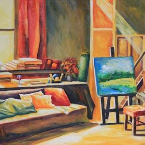A művész terme, Képzőművészet, Otthon & lakás, Festmény, Olajfestmény, Festészet, Olaj ,vászon 50 X 70 cm\nAzonnal szállítható\nEz a hely a művész szentélye itt születnek az alkotások ..., Meska
