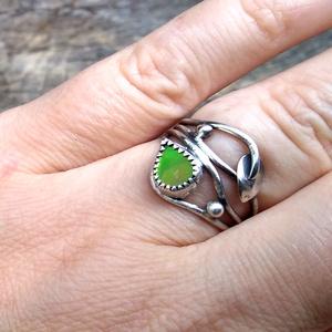 Ezüst Ammolit gyűrű - ékszer - gyűrű - fonódó gyűrű - Meska.hu
