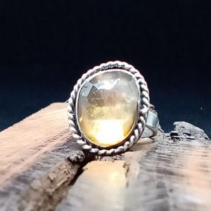 Ezüst Citrin gyűrű, Ékszer, Statement gyűrű, Gyűrű, Ékszerkészítés, Ötvös, Meska
