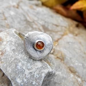 Ezüst Borostyán gyűrű - NORICUM  - Meska.hu