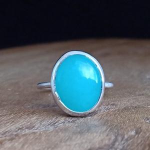 Ezüst Amazonit gyűrű, Ékszer, Gyűrű, Statement gyűrű, Ékszerkészítés, Ötvös, Meska