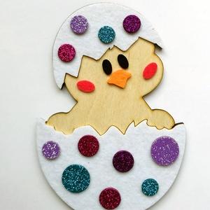 Csibe hűtőmágnes, DIY (Csináld magad), Egységcsomag, Mindenmás, Kreatív, kézügyesség fejlesztő húsvéti dekoráció gyerekeknek.\nA fa alapra a gyerekek könnyedén felra..., Meska