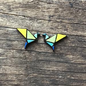 Madár fa fülbevaló, Ékszer, Ékszerkészítés, Madár origami fa beszúrós fülbevaló., Meska