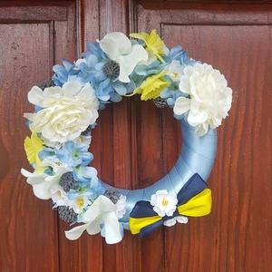Nyári ajtódísz, ajtó kopogtató - 15cm, Otthon & Lakás, Dekoráció, Ajtódísz & Kopogtató, Virágkötés, Meska