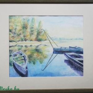 Csónakos I, Akvarell, Festmény, Művészet, Festészet, Fotó, grafika, rajz, illusztráció, Ilyen szép a környék...Akvarell, nonreflektív üveg alatt, kerettel 48x41 centi., Meska