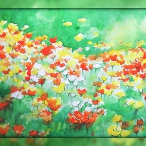 Virágmező, Dekoráció, Otthon & lakás, Kép, Képzőművészet, Festmény, Festészet, A/4-es méretű akvarell. Keret nélkül., Meska