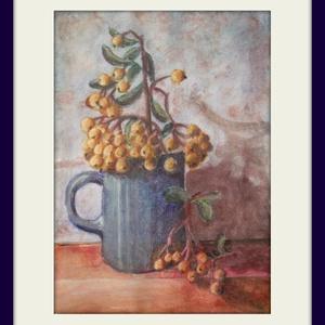 Berkenye pohárban, Művészet, Festmény, Pasztell, Festészet, 20,5X14,5 sm-es kis pasztellkép berkenyével, keret nélkül...ősz van. :-) (A keret virtuális.), Meska
