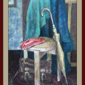 Előszoba, Dekoráció, Otthon & lakás, Kép, Képzőművészet, Festmény, Festészet, A/4-es méretű, keret nélküli, papírra festett olajkép. (A keret virtuális.), Meska