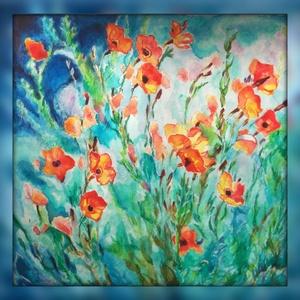 Tavasz, Dekoráció, Otthon & lakás, Kép, Képzőművészet, Festmény, Festészet, Akvarell, 20x20 cm. (A keret virtuális.), Meska