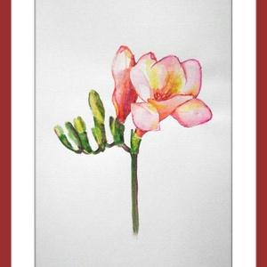 Rózsaszín frézia, Művészet, Festmény, Akvarell, Festészet, Meska