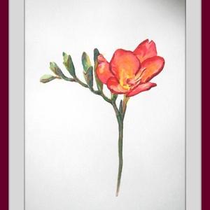 Piros frézia, Otthon & Lakás, Kép & Falikép, Dekoráció, Festészet, Meska