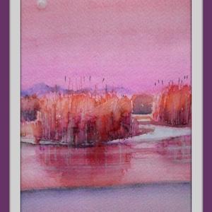 Rózsaszín , Művészet, Festmény, Akvarell, Festészet, Meska