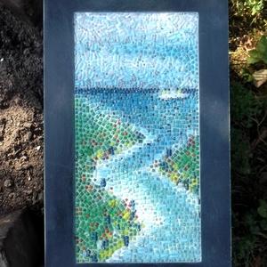 Adria, Festmény vegyes technika, Festmény, Művészet, Mozaik, Festészet, Mozaikkép, egy utazás emléke....41x25 cm. Kipróbáltam, milyen ha a fúgákat is színezem..., Meska