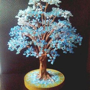 Égkék gyöngyfa, Otthon & Lakás, Dekoráció, Dísztárgy, Gyöngyfűzés, gyöngyhímzés, Meska