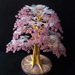 Virágos lila gyöngyfa, Dísztárgy, Dekoráció, Otthon & Lakás, Gyöngyfűzés, gyöngyhímzés, 12 cm magas., Meska