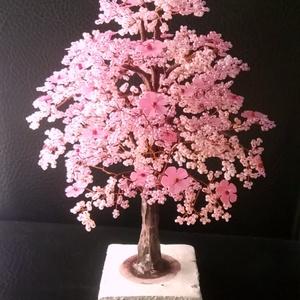 Rózsaszín gyöngyfa virágokkal, Otthon & Lakás, Dekoráció, Dísztárgy, Gyöngyfűzés, gyöngyhímzés, Meska