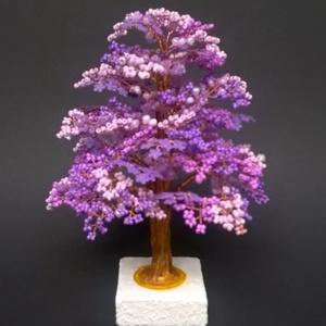 Lila gyöngyfa, Dísztárgy, Dekoráció, Otthon & Lakás, Gyöngyfűzés, gyöngyhímzés, 18 cm magas., Meska