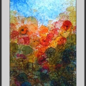 Nyár, Otthon & lakás, Képzőművészet, Festmény, Festészet, 19x31 cm-es keret nélküli speciális akvarell, fényes felülettel.  (A technika hasonlít az akvarellhe..., Meska