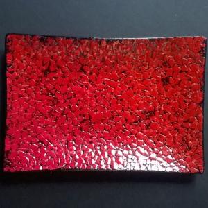 Piros üvegtálka, Dísztárgy, Dekoráció, Otthon & Lakás, Mozaik, Mozaikkal díszített kis dísztálka 16x11 cm. Kipróbálam, hogy mutat a tojáshéj üvegen... az eredmény ..., Meska
