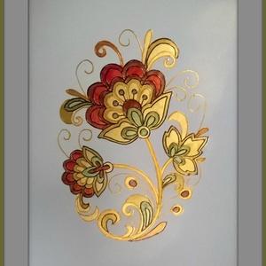 Khokhloma 1, Festmény vegyes technika, Festmény, Művészet, Festészet, Egy gyönyörű orosz népi motívumot festettem meg fényes papírra...egy varázslatos világ pici darabkáj..., Meska