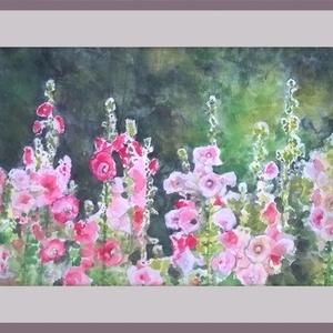 Mályváskert, Otthon & lakás, Képzőművészet, Festmény, Akvarell, Festészet, 42x29 (A3) méretű akvarellkép. Keret nélkül.\n, Meska