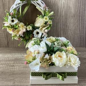 Greenery virágbox és ajtódísz szett, Otthon & lakás, Dekoráció, Dísz, Virágkötés, Ez a szépséges virágbox és ajtódísz tökéletes választás anyáknapjára, szülinapra vagy csak úgy! \nGre..., Meska