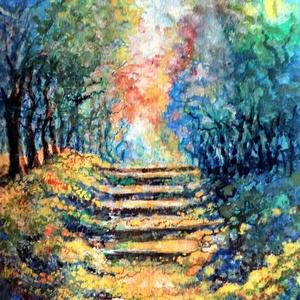 A lépcső, Művészet, Festmény, Akvarell, Festészet, Fotó, grafika, rajz, illusztráció, A/4-es méretű akvarell, erdőrészletet ábrázol falépcsővel, amin az ösvény felfelé vezet.\nKerettel eg..., Meska