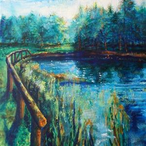 A természet közelében..., 40x60 cm-es akril kép vászonra festve. A megújuló természet ihletett meg, a tavaszi lombok, vizek, s..., Meska