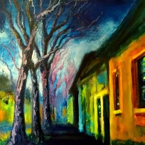 Külvárosi est, Művészet, Festmény, Akril, Festészet, Fotó, grafika, rajz, illusztráció, Nagyon érdekel az esti megvilágított utca látképe. Egy óvárosi utca régi házakkal ihletett meg.\nÉrde..., Meska