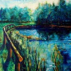 A természet közelében..., Akril, Festmény, Művészet, Festészet, Fotó, grafika, rajz, illusztráció, 40x60 cm-es akril kép vászonra festve. A megújuló természet ihletett meg, a tavaszi lombok, vizek, s..., Meska