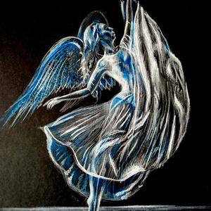 Az angyal tánca, Művészet, Grafika & Illusztráció, Fotó, grafika, rajz, illusztráció, Táncoló angyal fekete kartonon fehér és kék akvarell ceruzával készült. Keretezészt igényel.\nA/3-as ..., Meska