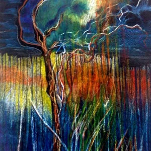 A kerítésen túl, Művészet, Festmény, Akvarell, Festészet, Festett tárgyak, Keretezett, üvegezett rajz, akvarell ceruzával készült.\nKerettel együtt 42x32 cm\nNyugodt falusi élet..., Meska