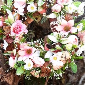 Tavaszi rózsaszínes, Otthon & lakás, Dekoráció, Dísz, Lakberendezés, Ajtódísz, kopogtató, Koszorú, Virágkötés, Az ajtódísz mèrete kb 23 cm.Dúsan megrakott,szèp darab.Ajàndéknak minden korosztàly szàmàra kitűnő v..., Meska