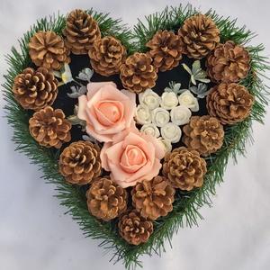 Szív alakú sírdísz, Egyéb, Virágkötés, Mindenmás, Egy sírdísz egész évben aktuális, de most Halottak napja közeledtével méginkább.\nFarostlemezből szív..., Meska