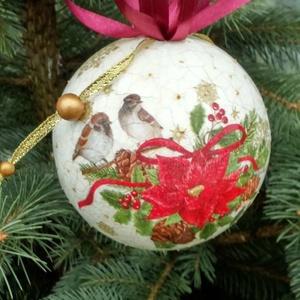 Karácsonyi gömb, Karácsonyfadísz, Karácsony & Mikulás, Decoupage, transzfer és szalvétatechnika, Festészet, Stiropor gömbre festett 3d hatású repesztett felületű karácsonyi gömb.\nTökéletes lehet ablakokba,ajt..., Meska