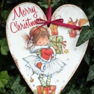 Karácsonyi szív, Karácsonyi dekoráció, Karácsony & Mikulás, Decoupage, transzfer és szalvétatechnika, Festészet, Szív alakú karácsonyi táblácska.A lakás bármely részének tökéletes ünnepi kiegészítője.Adhatjuk aján..., Meska