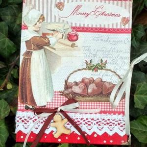 Karácsonyi recept füzet , Egyéb, Konyhafelszerelés, Otthon & lakás, Receptfüzet, Decoupage, transzfer és szalvétatechnika, Festészet, A5 ös méretü karácsonyi recept füzet. Festett,lakkozott felület.Csipkével és fa sdiszekkel dekorálva..., Meska