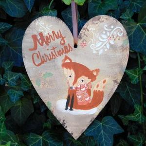 Karácsonyi szivecske  róka, Karácsonyfadísz, Karácsony & Mikulás, Otthon & Lakás, Festészet, Szív alakú karácsonyi táblácska. A táblán 3D mindta is megtalálható..A lakás bármely részének tökéle..., Meska