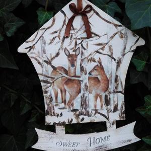 """Téli üdvözlet , Isten hozott tábla, Ház & Kert, Otthon & Lakás, Decoupage, transzfer és szalvétatechnika, Festészet, Karácsonyi táblácska \""""édes otthon \"""" szöveggel. A táblán 3D mindta is megtalálható..A lakás bármely r..., Meska"""