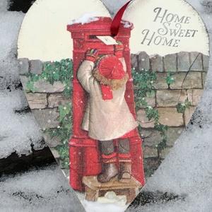 Várakozás szivecske tábla, Ajtódísz & Kopogtató, Dekoráció, Otthon & Lakás, Festészet, Szív alakú karácsonyi táblácska.A lakás bármely részének tökéletes ünnepi kiegészítője.Adhatjuk aján..., Meska