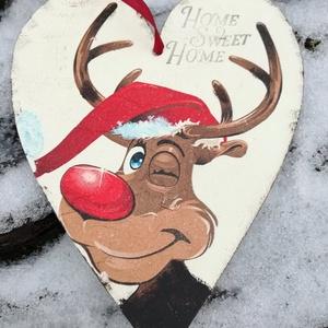 Rudolf  a rénszarvas , Függődísz, Dekoráció, Otthon & Lakás, Festészet, Szív alakú karácsonyi táblácska.A lakás bármely részének tökéletes ünnepi kiegészítője.Adhatjuk aján..., Meska