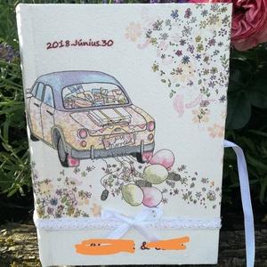 Esküvői vendégkönyv, Vendégkönyv, Emlék & Ajándék, Esküvő, Decoupage, transzfer és szalvétatechnika, A5 ös méretü esküvői vendégkönyv Festett,lakkozott felület.Csipkével és szalaggal dekorálva. A füzet..., Meska