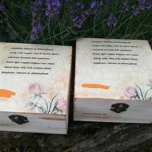 Szülő köszöntő doboz , Esküvő, Egyéb, Decoupage, transzfer és szalvétatechnika, Festészet, Egy igazi különleges fa dobozka.15x15x6 cm es mérettel.A dobozka a lakkrétegnek köszönhetően vízálló..., Meska