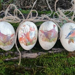 Natur tojás szett , Otthon & Lakás, Dekoráció, Decoupage, transzfer és szalvétatechnika, Festészet, Húsvéti hangulat :) Polisztirol alapra festett repedezett felületű különleges húsvéti tojás :)\nA toj..., Meska