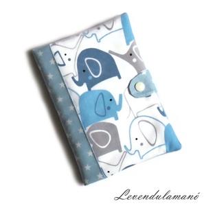 Kék kiselefántok Egészségügyi kiskönyv borító FIÚKNAK, Otthon & Lakás, Papír írószer, Könyv- és füzetborító, Varrás, Ezzel az aranyos mintás textilborítóval egyedi, szép külsőt adhatunk a sokszor használt orvosi kiskö..., Meska