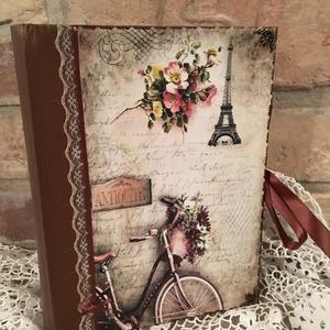 Vintage Párizsos fotóalbum , Otthon & Lakás, Papír írószer, Album & Fotóalbum, Decoupage, transzfer és szalvétatechnika, 200 darabos fotóalbum külseje új ruhát kapott , csodaszép Párizsos vintage mintában pompázik  .\nVint..., Meska